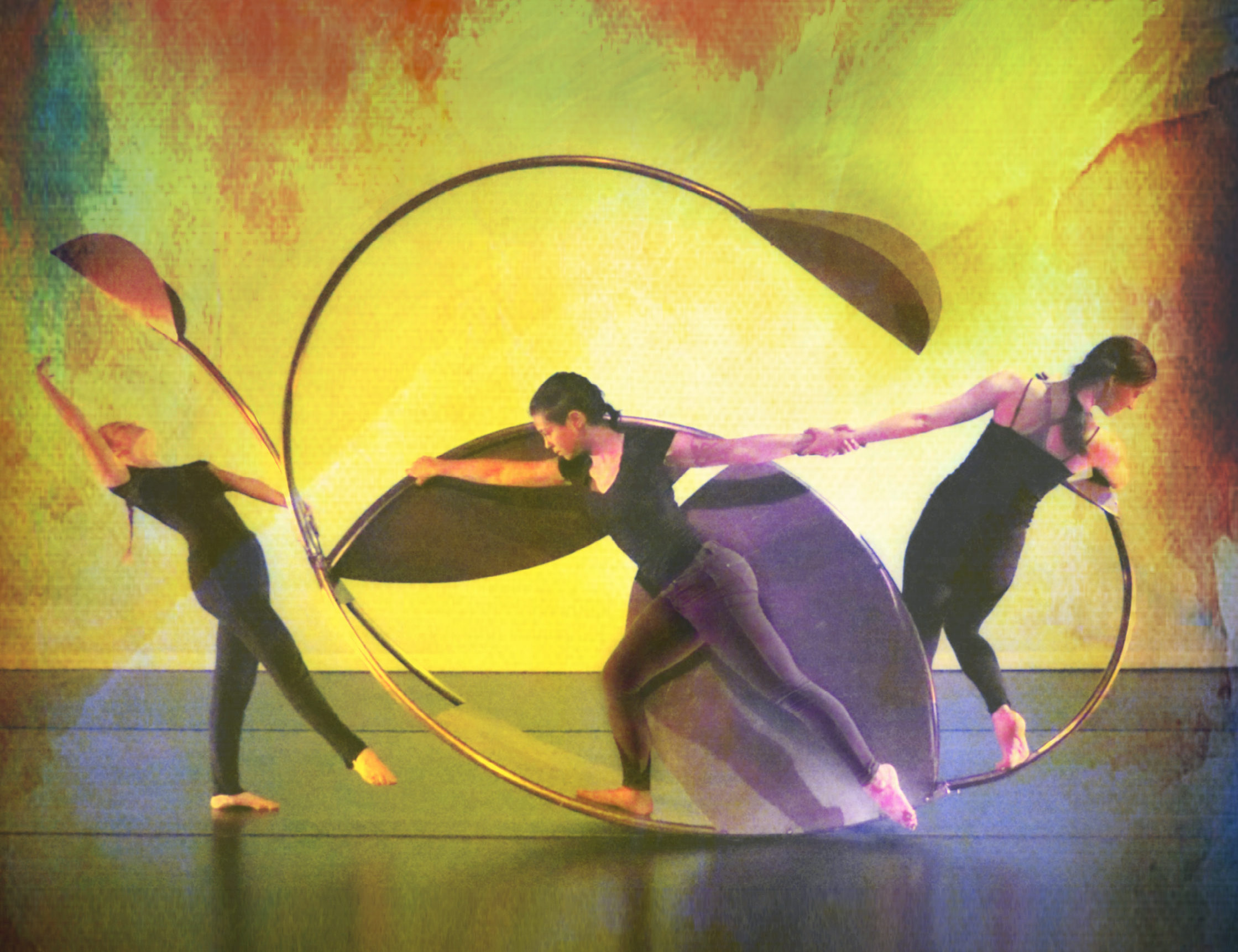 Three dancers surround a large metal sculpture in front of a watercolor background that bleeds red into yellow into green.